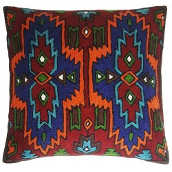 "Mehrunnisa (16""X16"") Exclusive Hand Embroidered Crewel Work Cushion Cover from Kashmir (HOM2526)"