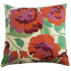 "Mehrunnisa (12""X12"") Kashmir Hand Embroidered Crewel Work Cushion Cover (HOM2508)"