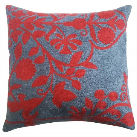 "Mehrunnisa (12""X12"") Kashmir Hand Embroidered Crewel Work Cushion Cover (HOM2507)"