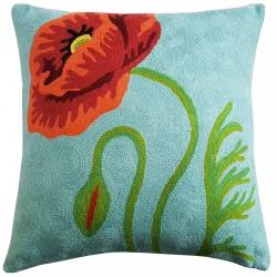 "Mehrunnisa (12""X12"") Kashmir Hand Embroidered Crewel Work Cushion Cover (HOM2505)"