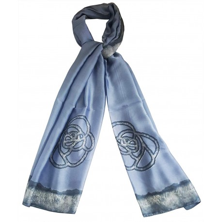 Mehrunnisa Poly Silk Scarf/Neck Wrap – Unisex (GAR2486, Two Flowers)