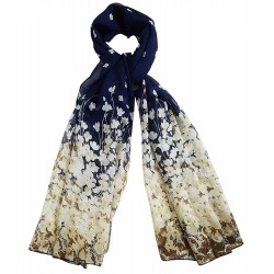 Mehrunnisa Fashion Floral Scarf/Neck Wrap – Unisex (GAR2399,Dark Blue)