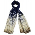 Mehrunnisa Fashion Floral Scarf/Neck Wrap – Unisex (GAR2399,Dark Blue)