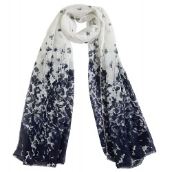 Mehrunnisa Fashion Floral Scarf/Neck Wrap – Unisex (GAR2398, White)