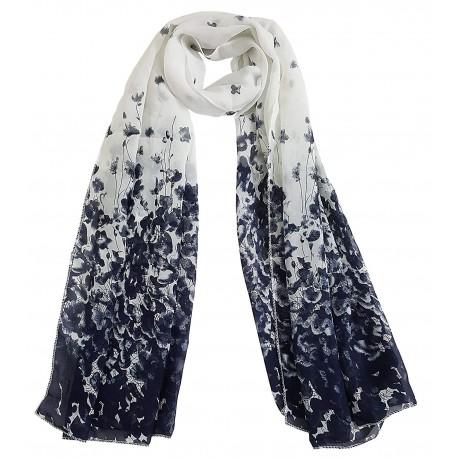 Mehrunnisa Fashion Floral Scarf/Neck Wrap – Unisex (GAR2398, White)