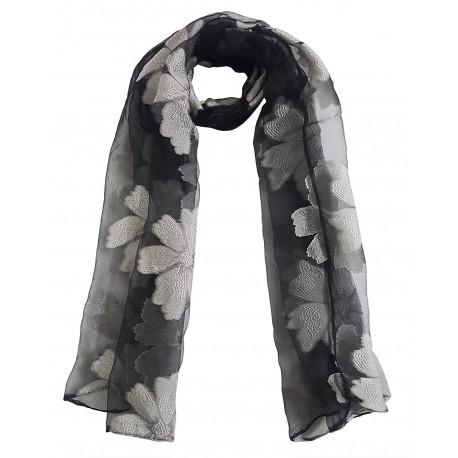 Mehrunnisa Poly Organza Flowers Scarf/Neck Wrap – Unisex (GAR2388, Grey)