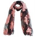 Mehrunnisa Poly Organza Flowers Scarf/Neck Wrap – Unisex (GAR2387, Pink)