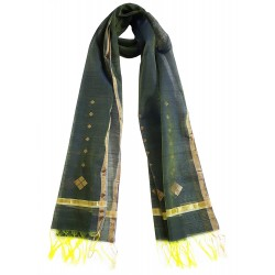 Mehrunnisa Handwoven Chanderi Stole With Zari Border – Unisex (GAR2346, Bluish Green)