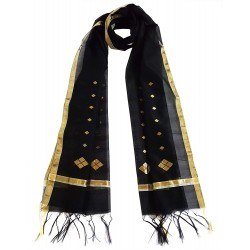 Mehrunnisa Handwoven Chanderi Stole With Zari Border – Unisex (GAR2345, Black)