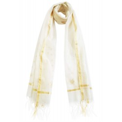 Mehrunnisa Handwoven Chanderi Stole With Zari Border – Unisex (GAR2344, White)