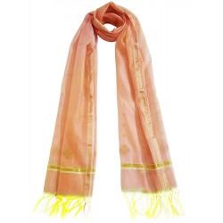 Mehrunnisa Handwoven Chanderi Stole With Zari Border – Unisex (GAR2343, Pink)