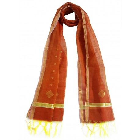 Mehrunnisa Handwoven Chanderi Stole With Zari Border – Unisex (GAR2341, Orange)