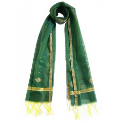 Mehrunnisa Handwoven Chanderi Stole With Zari Border – Unisex (GAR2340, Green)