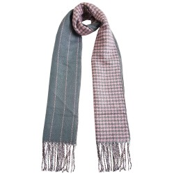 Mehrunnisa Double Sided Plaid Woolen Long Scarf / Muffler – Unisex (Pink ,GAR2201)