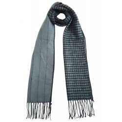 Mehrunnisa Double Sided Plaid Woolen Long Scarf / Muffler – Unisex (Grey, GAR2200)