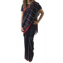 Mehrunnisa Handloom Pure Cotton Kantha SAREE With Blouse Piece From Bengal (Black Half Kantha, GAR2760)