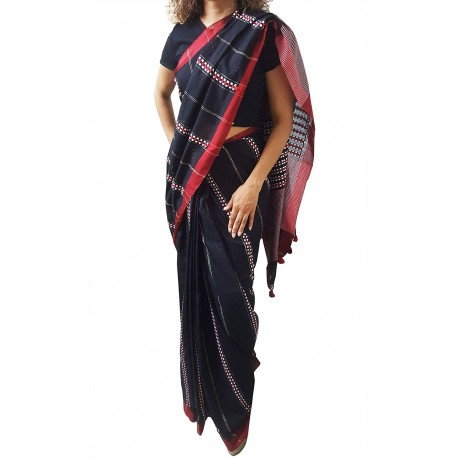 Mehrunnisa Handloom Pure Cotton Kantha SAREE With Blouse Piece From Bengal (Black Full Kantha, GAR2759)