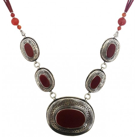 Mehrunnisa Afghani Tribal Pendant Necklace (JWL2767, Dark Red Agate)