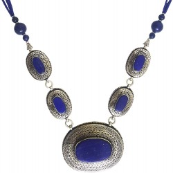 Mehrunnisa Afghani Tribal Pendant Necklace (JWL2766, Lapis Lazuli)