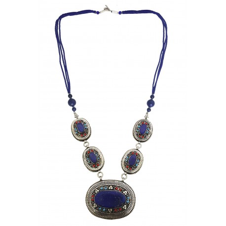 Mehrunnisa Afghani Lapis Lazuli Tribal Pendant Necklace (JWL2771, Oval)