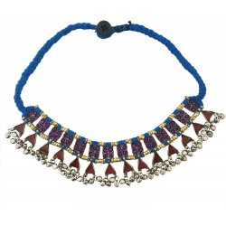 Mehrunnisa Afghani Tribal Choker Necklace for Women (JWL2777, Blue)