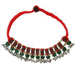Mehrunnisa Afghani Tribal Choker Necklace for Women (JWL2776, Red)