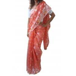 Mehrunnisa Dhakai Jamdani Cotton Silk SAREE With Zari From West Bengal (GAR2775, Orange)