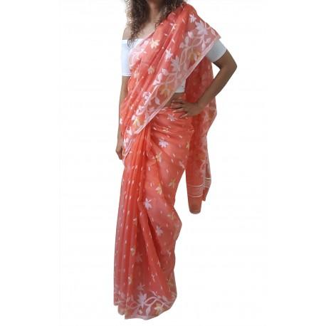 Mehrunnisa Dhakai Jamdani Cotton Silk SAREE With Zari From West Bengal (GAR2775, Orange)