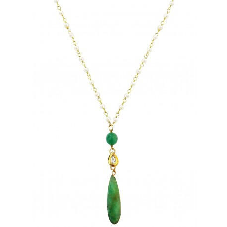 Mehrunnisa Semi Precious Stone Pendant with Pearl Chain Necklace (Australian Jade, JWL2787)