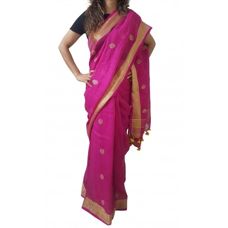 Mehrunnisa Handloom Linen Butta SAREE With Zari Border From West Bengal (GAR2718,  Magenta)