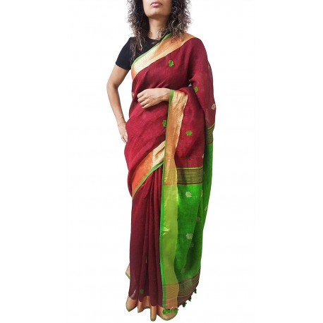 Mehrunnisa Handloom Linen Butta SAREE With Zari Border From West Bengal (GAR2719,  Maroon & Green)