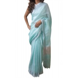 Mehrunnisa Handloom Premium Linen SAREE With Zari Border From West Bengal (GAR2610, Mint Green)