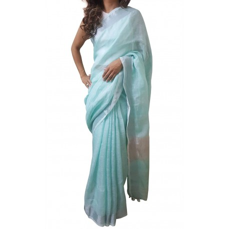 Mehrunnisa Handloom Premium Linen SAREE With Zari Border From West Bengal (GAR2610, Mint Green)