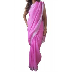 Mehrunnisa Handloom Premium Linen SAREE With Zari Border From West Bengal (GAR2609, Pink)