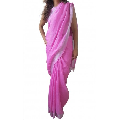 Mehrunnisa Handloom Premium Linen SAREE With Zari Border From West Bengal (GAR2607, White & magenta)