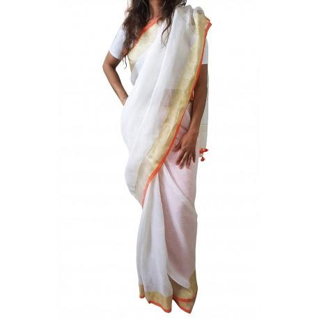 Mehrunnisa Handloom Premium Linen SAREE With Zari Border From West Bengal (GAR2606, White & Orange)