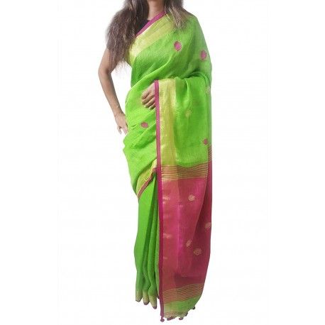 Mehrunnisa Handloom Linen Butta SAREE With Zari Border From West Bengal (GAR2716, Green & Magenta)