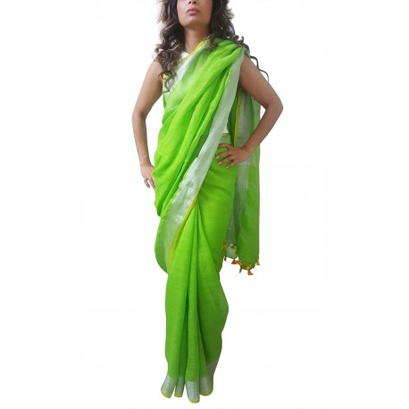 Mehrunnisa Handloom Premium Linen SAREE With Zari Border From West Bengal (GAR2608, Green & Yellow)