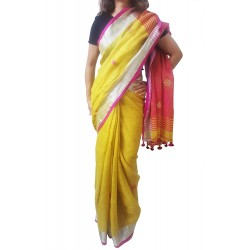Mehrunnisa Handloom Linen Butta SAREE With Zari Border From West Bengal (GAR2723,  Yellow & Magenta)