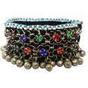 Mehrunnisa Traditional Afghani Colored Glass & Ghungroo Single Anklet (JWL2794)