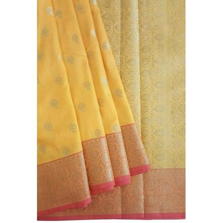Mehrunnisa Assam Silk Butti SAREE With Copper Zari (Yellow, GAR2817)