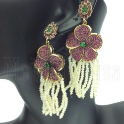 Gemstone Tassel Beaded Fringe Earrings