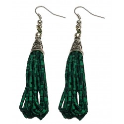 Afghani Tribal Malachite Silver Earrings