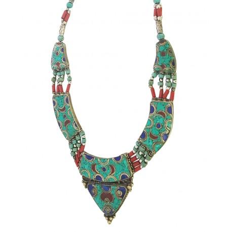 Afghani Ethinic Turquoise Coral Lapis Lazuli Necklace