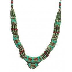 Afghani Antique Turquoise Coral Necklace