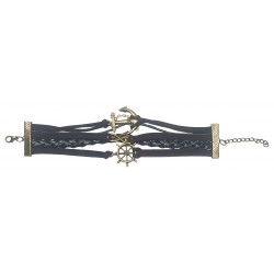 Fashion Dark Brown Leather And Suede Bracelet