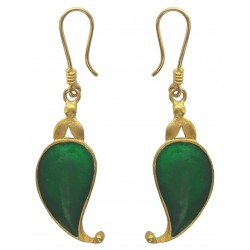 Paisley Green Enameled Dangle Earrings