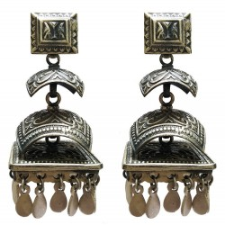 Sterling Silver Pagoda Style Motif Earrings