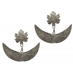 Kashmiri Sterling Silver Oxidised Chinar Crescent Earrings