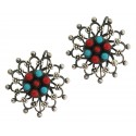 Kashmiri Sterling Silver Oxidized Flower Earrings With Coral And Turquoise